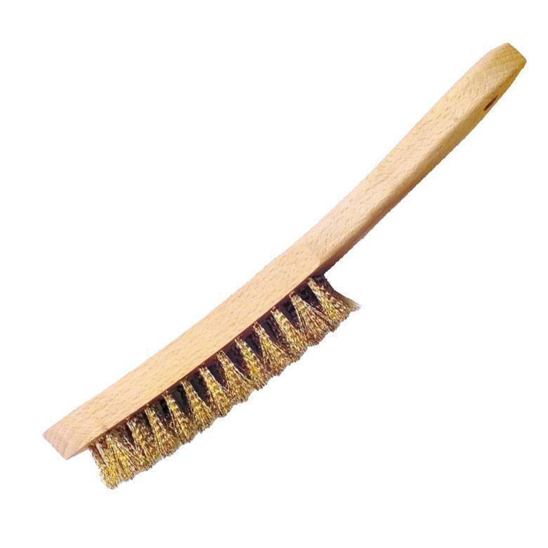 Brass wire brush, corrugated, 4 rows