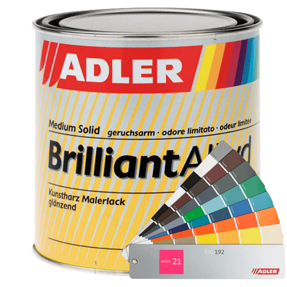 Glossy synthetic resin topcoat, ADLER Brilliantalkyd, many colours available