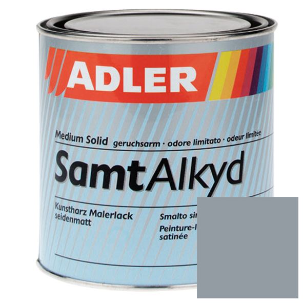 Synthetic resin topcoat, RAL 7001, Silver grey, satin gloss, SamtAlkyd